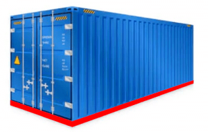 PNiebieski kontener transportowy. Schrag Polska