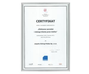 Certyfikat efektywna sprzedaż Schrag Polska.