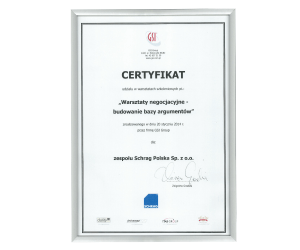 Certyfikat warsztaty negocjacyjne Schrag Polska.