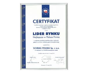 Certyfikat lider rynku Schrag Polska.