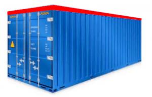 Niebieski kontener transportowy. Schrag Polska