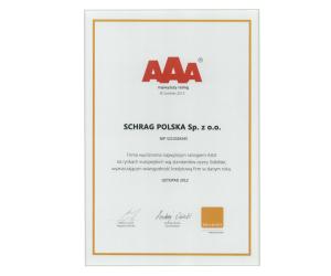Dyplom złoty płatnik Schrag Polska.