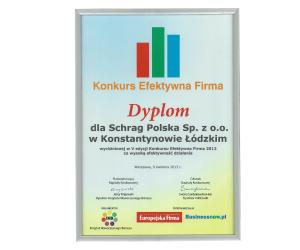 Dyplom efektywna firma Schrag Polska.