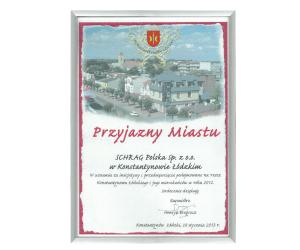 Dyplom podziękowanie dla Schrag Polska.